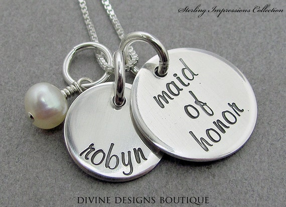 Maid Of Honor Gifts From Bride: Maid Of Honor Necklace Personalized By DivineDesignJewelers