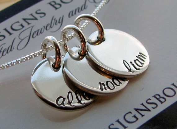 Personalized Necklace - Sterling Impressions Three Disc Half Inch Personalized Necklace