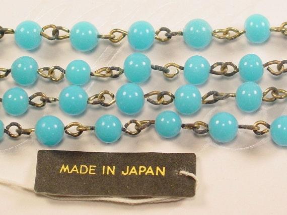 Vintage Japan - Sky Blue Glass Beads/Chain - 5 feet - CH04