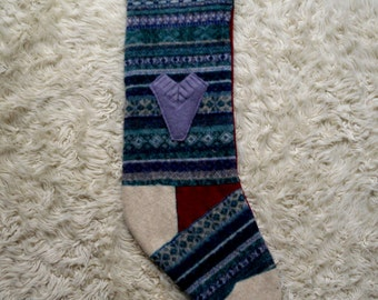 Christmas Stocking- recycled wool, funky traditional fair isle