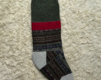 Christmas Stocking- recycled wool, traditional colors fair isle