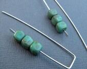 silver turquoise earrings. glass beads. dangle sterling silver earrings. beaded