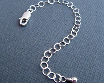 extension chain. 4 inch sterling silver necklace extender only. lobster clasp. safety chain. ready to ship