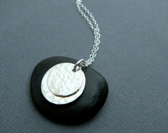 hammered silver circle necklace - layered sterling discs. simple pendant. modern. everyday. minimalist.  1/2 inch on 5/8 inch. ready to ship