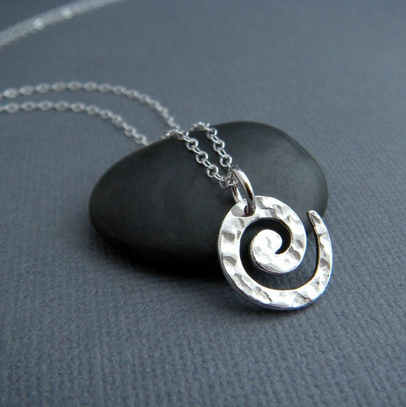 silver spiral necklace. swirl pendant. simple sterling everyday. hammered. minimalist jewelry. contemporary charm ready to ship gift for her