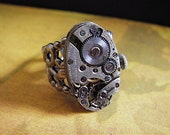 Back in time XI- Steampunk Ring - Repurposed art