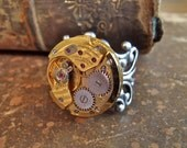 Sphere- Steampunk Ring - Repurposed art