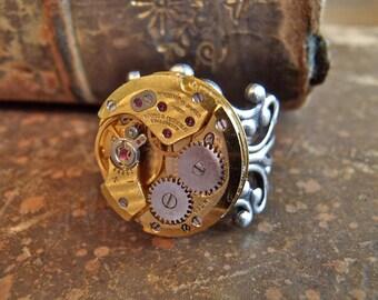 Sphere- Steampunk Ring - Repurposed art