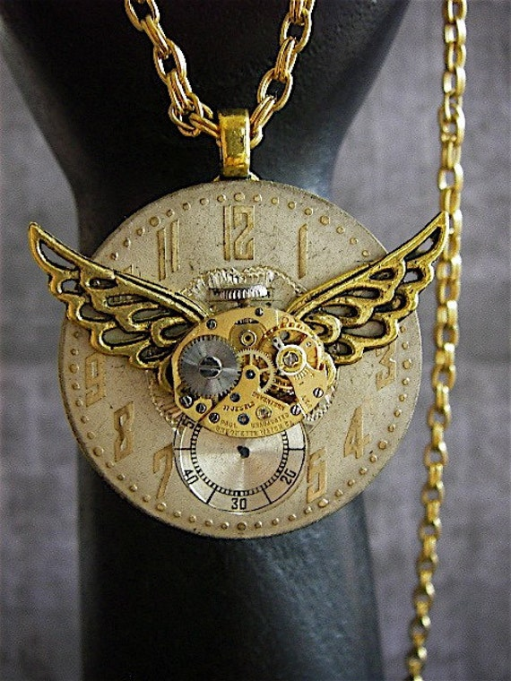 Time Traveler VI- Steampunk Necklace- Repurposed art
