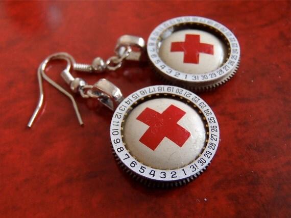 Steampunk Earrings - Rescued again - Steampunk Repurposed art earrings