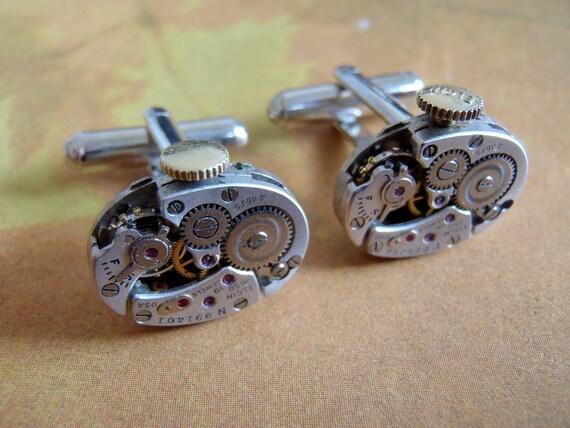 Elgin - Steampunk - Cufflinks - Cuff Links -Repurposed - Up cycled