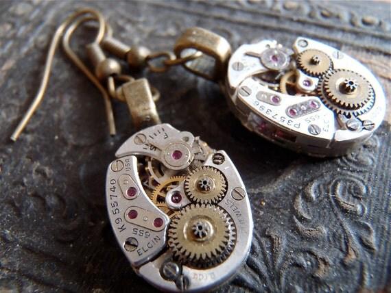 Almost Time  - Steampunk Earrings - Repurposed art