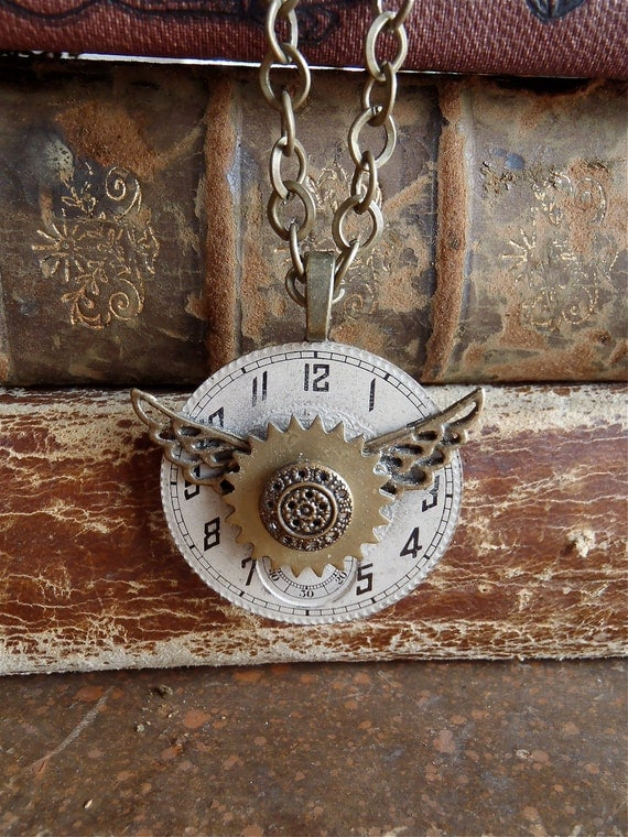 Steampunk Necklace - Time Traveler VII- Steampunk Pendant - Repurposed art