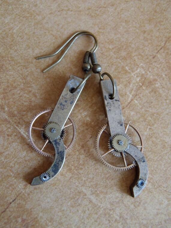 Steampunk earrings - Ear Rig  - Steampunk pocket watch parts gears Earrings - Repurposed art