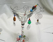 Martini Glass with Dangles and Beads