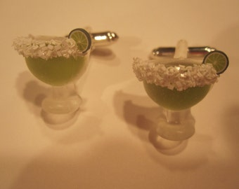 Set of 2 Margarita Cufflinks With Salt Rim and Tiny Lime