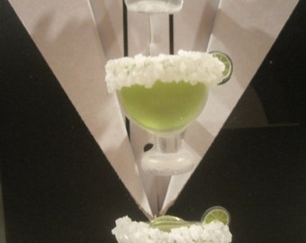 Set of 4 Margarita Glass Tuxedo Shirt Studs With Salt Rim and Tiny Lime, Gift Boxed