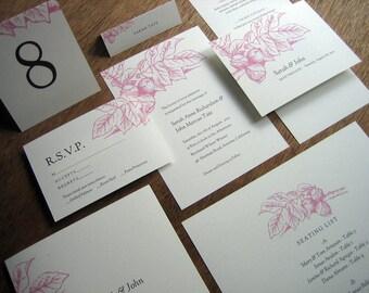 Printable Wedding Invitation Set - Instant Download Wedding Printables - Wedding Invite Suite - Editable PDFs - Pink Floral Wedding Set