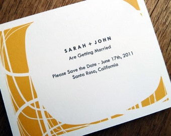 Printable Save the Date Card - Save the Date Template - Instant Download - Save the Date PDF - Mid-Century Save the Date - Yellow Orange PDF