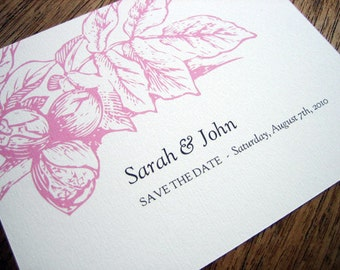 Printable Save the Date Card - Save the Date Template - Instant Download - Save the Date PDF - Vintage Botanical Save the Date - Pink PDF