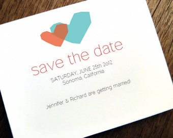 Printable Save the Date Card - Save the Date Template - Instant Download - Save the Date PDF - Two Hearts Save the Date - Red & Blue Hearts