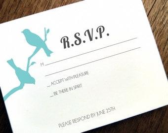 Printable RSVP Card - Response Card Download - Instant Download - RSVP Template - Response Card - Love Birds - 2 Birds - Birds on a Branch