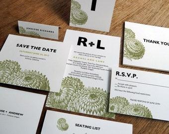 Printable Wedding Invitation Set - Wedding Printables - Instant Download - Editable PDFs -  Modern Rustic Invitation Suite -Thistle