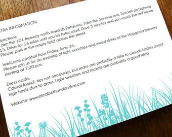 Wedding Information Card - Printable Wedding Enclosure Card Template - Turquoise Meadow