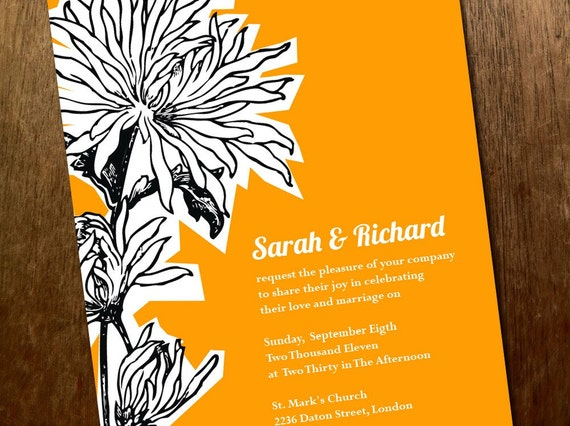 Printable Wedding Invitations - Dahlia - Orange Wedding Invitations - Instant Download - Wedding Invitation - Black Dahlia PDF
