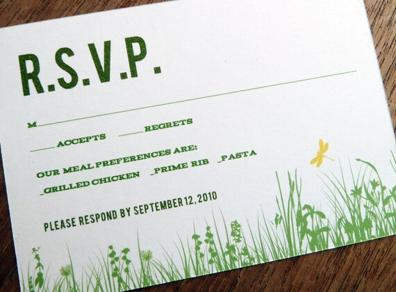 Printable RSVP Card - Response Card Download - Instant Download - RSVP Template - Response Card - Garden Party - Green Grass - Dragon Fly