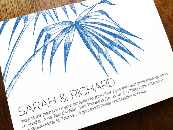 Printable Wedding Invitation Template - Palm - Navy Palm Wedding Invitations - Instant Download - Beach Wedding Invite - Island Wedding PDF