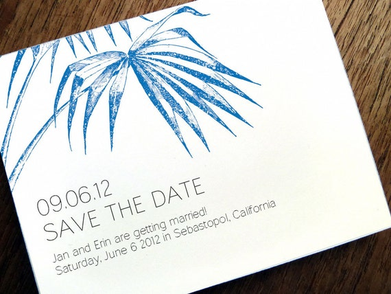 Printable Save the Date Card - Save the Date Template - Blue Palm Frond - Instant Download Save the Date - Save the Date PDF - Print at Home