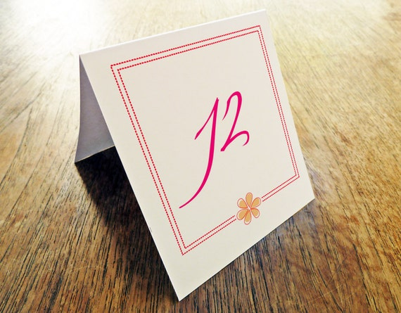 Printable Table Number - Table Number Template - Instant Download - Wedding Table Number PDF - Hot Pink Table Number - Dotted Border PDF