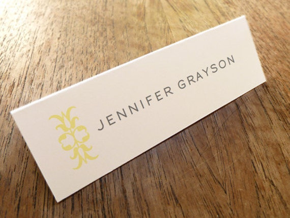 Printable Place Cards - Place Card Templates - Instant Download - Yellow and Gray Place Cards - Light Yellow Ornament - Gray Text - DIY PDF