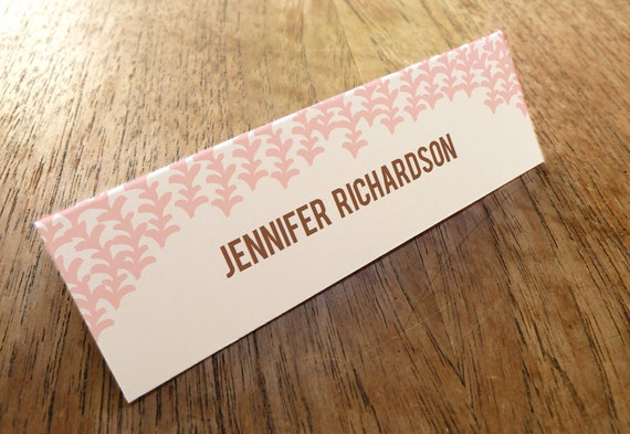 Printable Place Cards - Place Card Templates - Instant Download - Pink and Brown Place Cards - Escort Cards - PDF Download - Print at Home