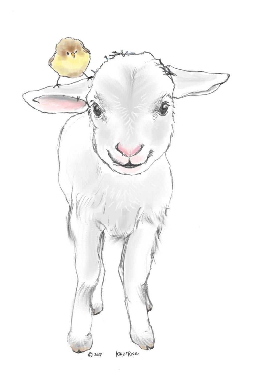 Baby Lamb Newborn Onesie by katerosejohnson on Etsy