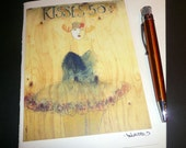 """5 x 7 notecard of 2003 street art, market square - """"kisses 50 cents"""" -  free shipping"""