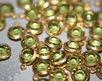 BULK SALE - Faceted Peridot Green Round Czech Pendants on Brass -6mm- 30 pcs