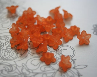 BULK SALE - No Coupons - Lucite Frosted Tangerine Orange Five Petal Trumpet Flowers - 100 pcs