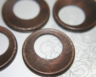Large Natural Espresso Wooden Rings - 6pcs