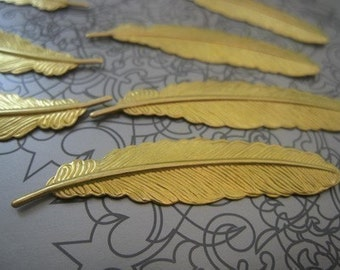 Solid Raw Brass Feather - 52mmx12mm - 40 pcs