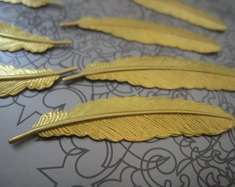 Solid Raw Brass Feathers - 52mmx12mm - 40 pcs
