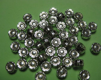 BULK SALE - No Coupons - Silver Plated Daisy Spacers and Charms Fully Drilled - 150 pcs
