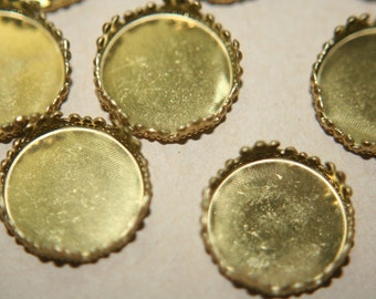 Round Raw Brass Settings with Floral Borders 16mm x 4mm deep - 10 pcs