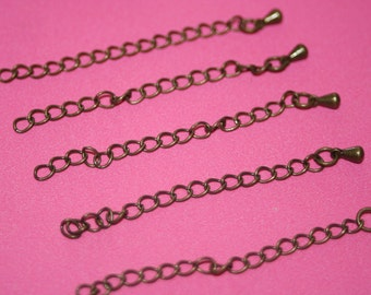 Greenish Bronze Chain Extensions - approx 11/2 inch - 10 pcs