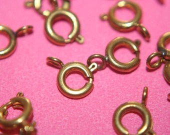 Raw Brass Round Spring Ring Clasps - 6mm - 10 pcs