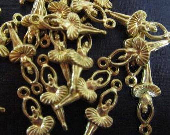 REDUCED - Raw Brass Mini Ballerina Charms - 20mmx7mm - 20 pcs