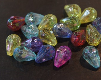 CLOSEOUT SALE - Assorted Faceted Tear Drop AB Tint Lucite Beads - 10mm x14mm - 30 pcs