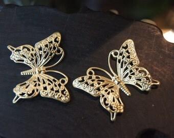 Raw Brass Monarch Butterfly Filigree - 45mm x 37mm - 8 pcs