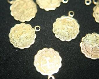 Raw Brass Zodiac Sign with Loop Small Charm Pendants - SAGITTARIUS - 12mm  - 10 pcs